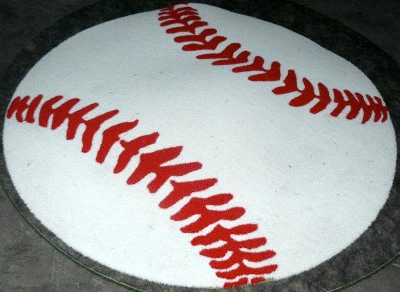 Baseball Circle 1/2 Pile Turf Rug