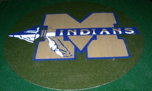 M Indians Baseball Circle 1/2 Pile Turf Rug