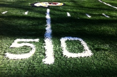 17x17 on 1 inch turf with 1/2 inch logo