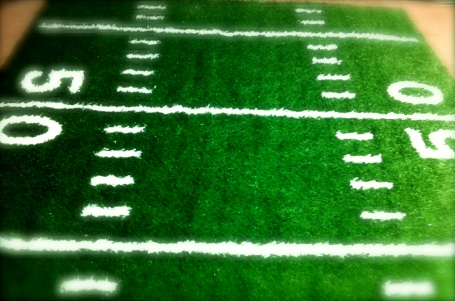 2 inch turf with hand-sewn in hash marks, lines, and numbers